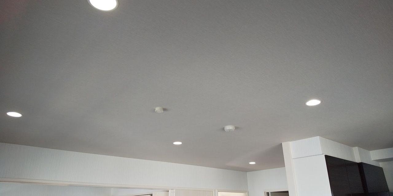 やわらかな色調の天井にはダウンライトを多く採用しました