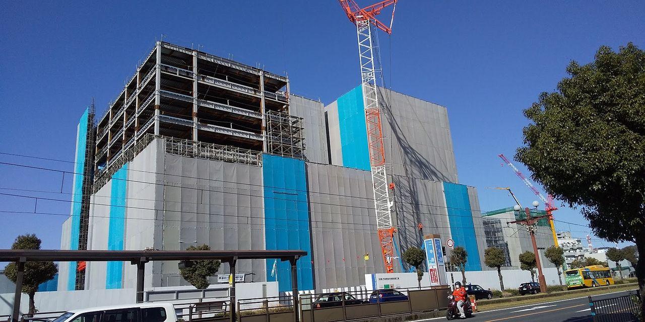 2020年2月撮影 順調に建設がすすむキラメキテラス 鹿児島市